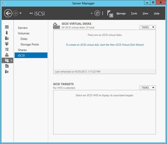 After installing the iSCSI Target Server role service, you can now create iSCSI virtual disks.