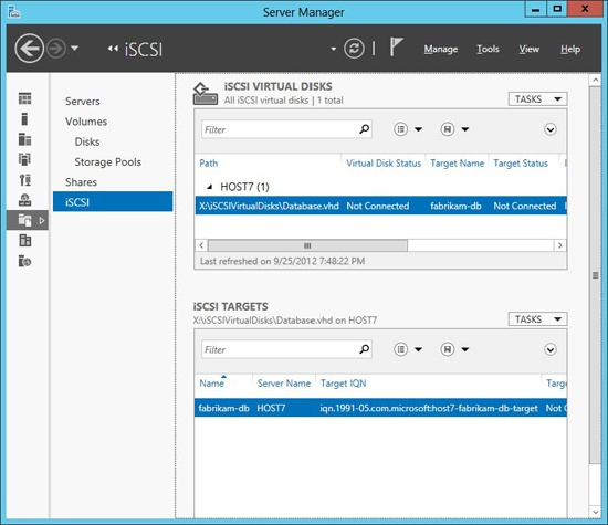 The new iSCSI target and virtual disk are displayed in Server Manager.