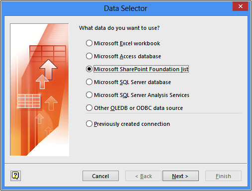 A screenshot of the Data Selector